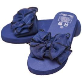 Best Shoes Chinelos de espuma com laço azul 3