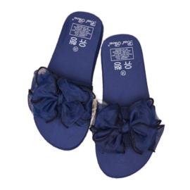 Best Shoes Chinelos de espuma com laço azul 1
