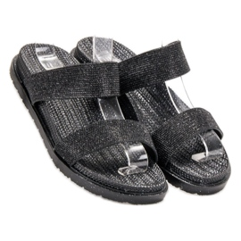 EXQUILY Chinelos de borracha elegantes preto 2
