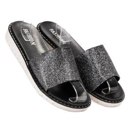 Fashion Chinelos elegantes e brilhantes preto 1