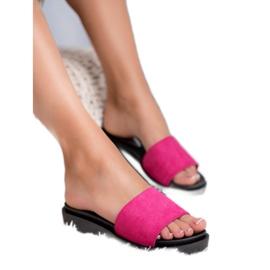 SHELOVET Sandálias de cunha rosa 4