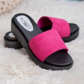 SHELOVET Sandálias de cunha rosa 3