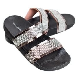 Ideal Shoes Chinelos femininos com zircônia cúbica cinza 2