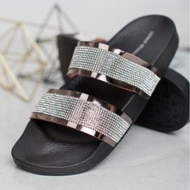 Ideal Shoes Chinelos femininos com zircônia cúbica cinza 1