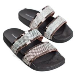 Ideal Shoes Chinelos femininos com zircônia cúbica cinza 3
