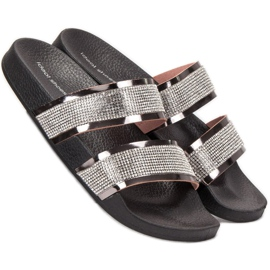 Ideal Shoes Chinelos femininos com zircônia cúbica cinza 4