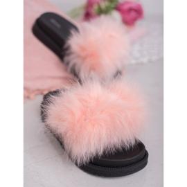 SHELOVET Chinelos com pele rosa 1