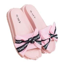 Jumex Chinelos com laço de amor rosa 1