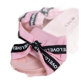 Jumex Chinelos com laço de amor rosa 3