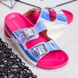 Ideal Shoes Chinelos de fivela holo cinza 1