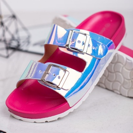 Ideal Shoes Chinelos de fivela holo cinza 3
