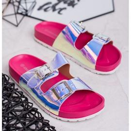 Ideal Shoes Chinelos de fivela holo cinza 2