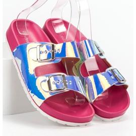 Ideal Shoes Chinelos de fivela holo cinza 4