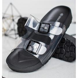 Ideal Shoes Chinelos transparentes com fivela preto 1