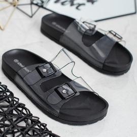Ideal Shoes Chinelos transparentes com fivela preto 2