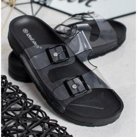 Ideal Shoes Chinelos transparentes com fivela preto 3