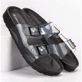 Ideal Shoes Chinelos transparentes com fivela preto 5