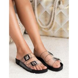 Ideal Shoes Chinelos transparentes com fivela preto 4