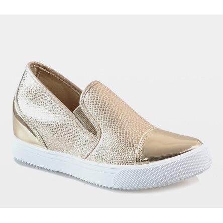 Sapatos de cunha dourados DD437 8 amarelo