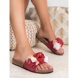 SHELOVET Chinelos com flores vermelho 3