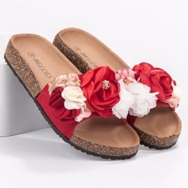 SHELOVET Chinelos com flores vermelho 1