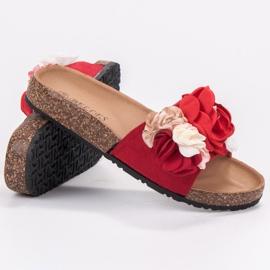 SHELOVET Chinelos com flores vermelho 4