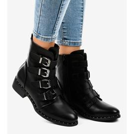 Botas de mulher negra com fivelas S120 preto 1