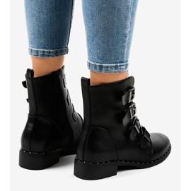Botas de mulher negra com fivelas S120 preto 2