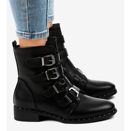 Botas de mulher negra com fivelas S120 preto 3