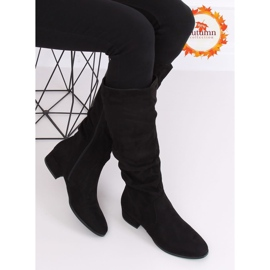 Preto Botas de camurça preta para mulher 3005 Black 1