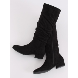 Preto Botas de camurça preta para mulher 3005 Black 2