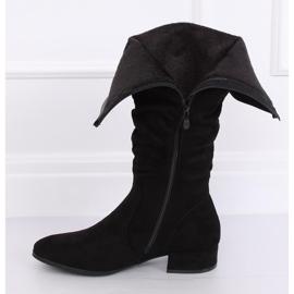 Preto Botas de camurça preta para mulher 3005 Black 3