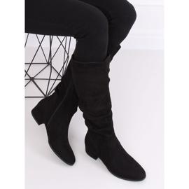 Preto Botas de camurça preta para mulher 3005 Black 4