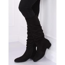 Preto Botas de camurça preta para mulher 3005 Black 5