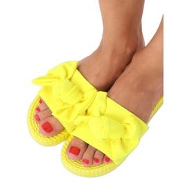 Chinelos femininos amarelos com laço fluorescente YQ225P 3