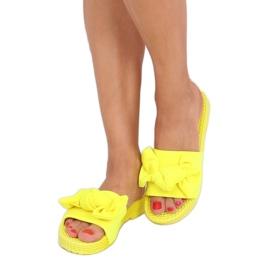 Chinelos femininos amarelos com laço fluorescente YQ225P 1