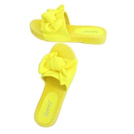 Chinelos femininos amarelos com laço fluorescente YQ225P 2
