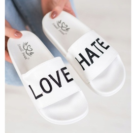 Small Swan LOVE & HATE chinelos de couro ecológico branco 2