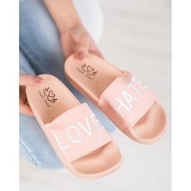 Small Swan LOVE & HATE chinelos de couro ecológico rosa 4