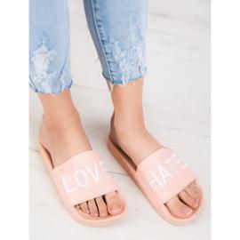 Small Swan LOVE & HATE chinelos de couro ecológico rosa 1