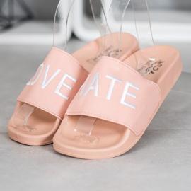 Small Swan LOVE & HATE chinelos de couro ecológico rosa 3