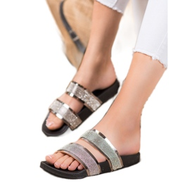 Ideal Shoes Chinelos femininos com zircônia cúbica cinza 5