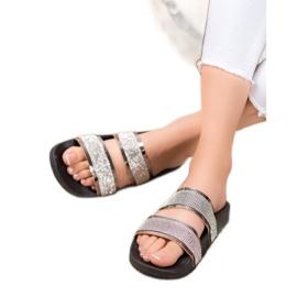 Ideal Shoes Chinelos femininos com zircônia cúbica cinza 6