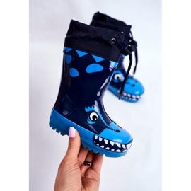 Apawwa Botas de chuva de borracha para crianças Tubarão Mordeso Azul marinho 3