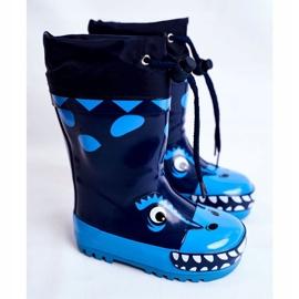 Apawwa Botas de chuva de borracha para crianças Tubarão Mordeso Azul marinho 1