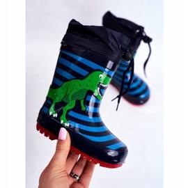 Apawwa Galochas de borracha para crianças Dinossauro azul marinho Mordeso verde 3