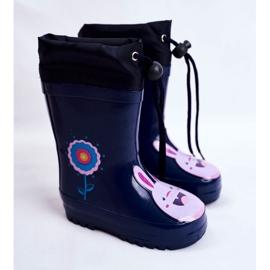 Apawwa Botas de chuva infantil de borracha Azul Marinho Coelho Mordeso rosa 1