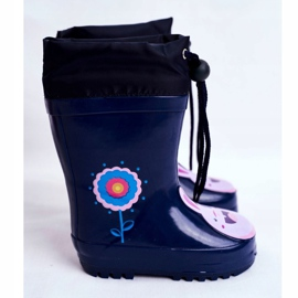 Apawwa Botas de chuva infantil de borracha Azul Marinho Coelho Mordeso rosa 2