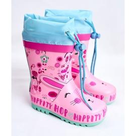 Bl&Ki Botas de chuva de borracha para crianças rosa coelho hippity hop 1