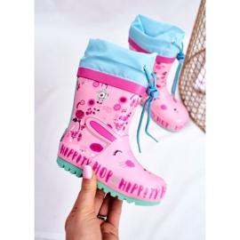 Bl&Ki Botas de chuva de borracha para crianças rosa coelho hippity hop 4